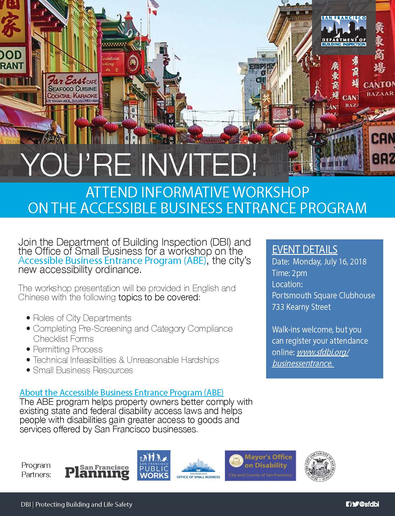 ABE Workshop in Chinatown on July 16