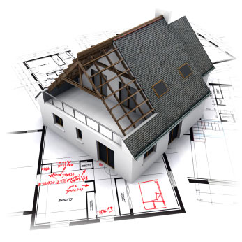 Picture of house on top of construction plans