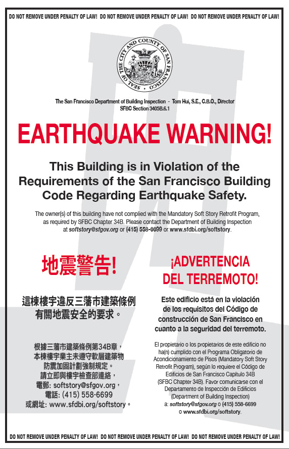 Earthquake Warning Placard